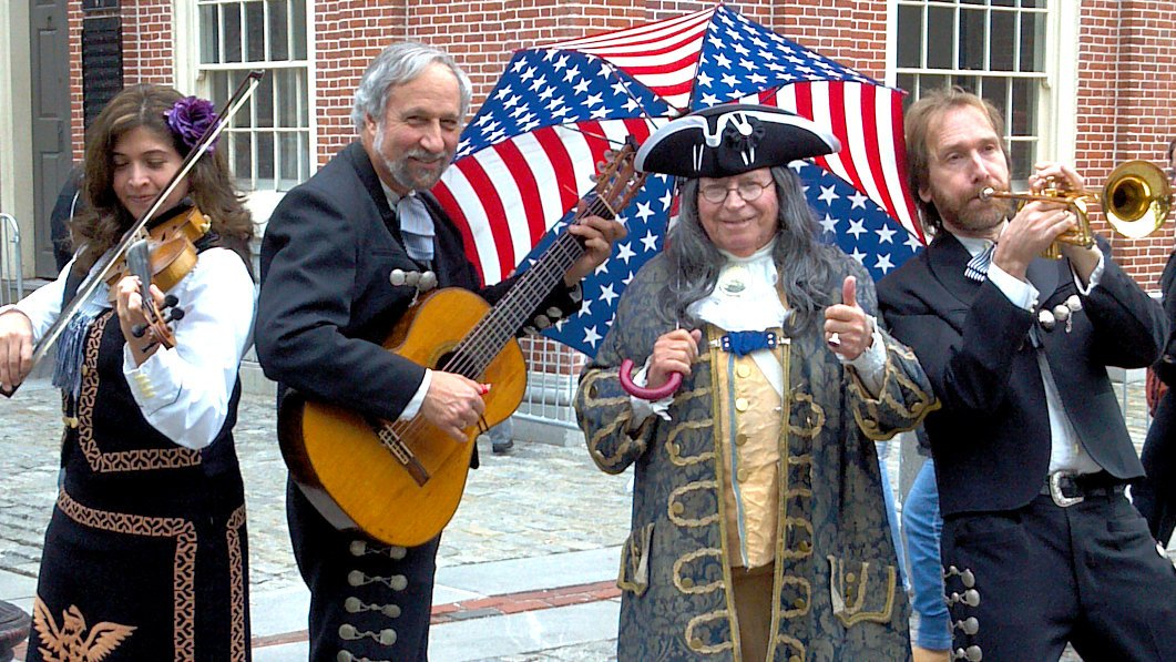 Fiesta del Norte performing in Boston's Historic Faneuil Hall. Ben Franklin seems to dig it!